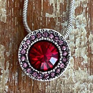 Patricia Locke Red Pink Swarovski Crystal Necklace
